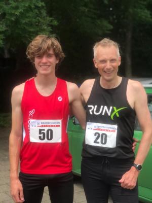 Binne Brok (U18) en Toine (M50) na hun goede race